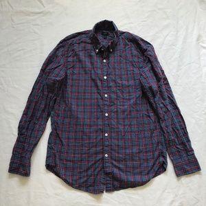 J.Crew Men Secret Wash shirt in heather navy check